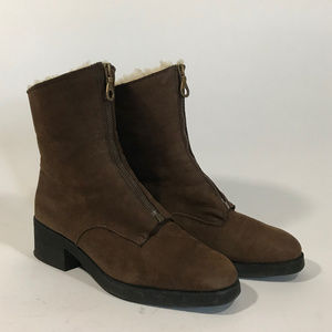 Searle 90s Brown Shearling & Nubuck Zip-Front Boot